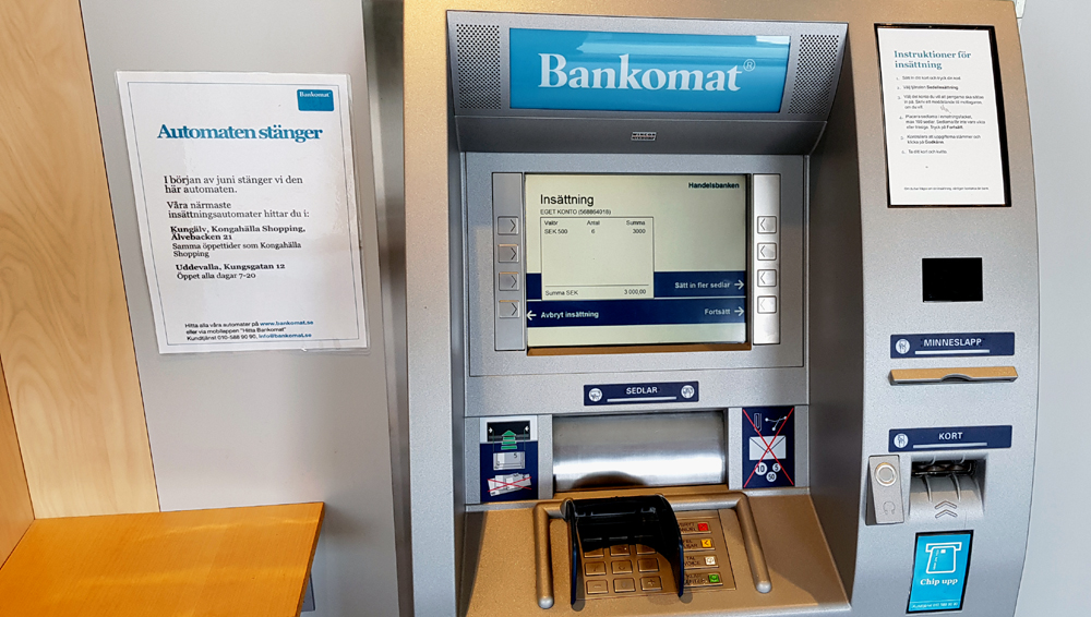 Max insättning bankomat seb